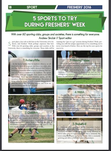 Freshers' magazine 2016